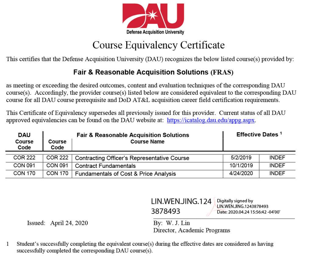 equivalency dau certificate